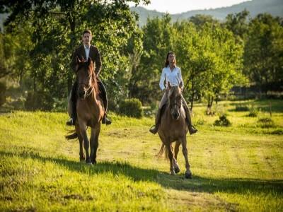 Lecție de călărie la conac de lux, mic dejun la pat + vizită cu ghid expert la Castelul Corvinilor. Cu 2 - 4 nopți cazare și 2 mese fine pe zi. Degustă Hunedoara!