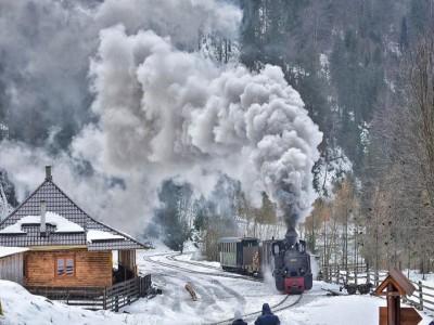 """Plimbare cu Mocănița + cazare o noapte într-un tren de epocă, hotelul """"Carpathia Express"""" + o cină specială + un prânz în pădure. Cu 1 - 5 nopți și 2 mese pe zi. În varianta supremă și seară cu ceterași + plimbare cu căruța + baie în ape termale"""