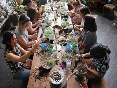 """Ateliere florale interactive pentru iulie si august: KOKEDAMA sau """"bile de licheni"""" + """"Ceramică pictată"""" + """"Flori, fete, coronițe și buchete"""" + """"Tabloul Verde, ornamente pentru acasă"""""""